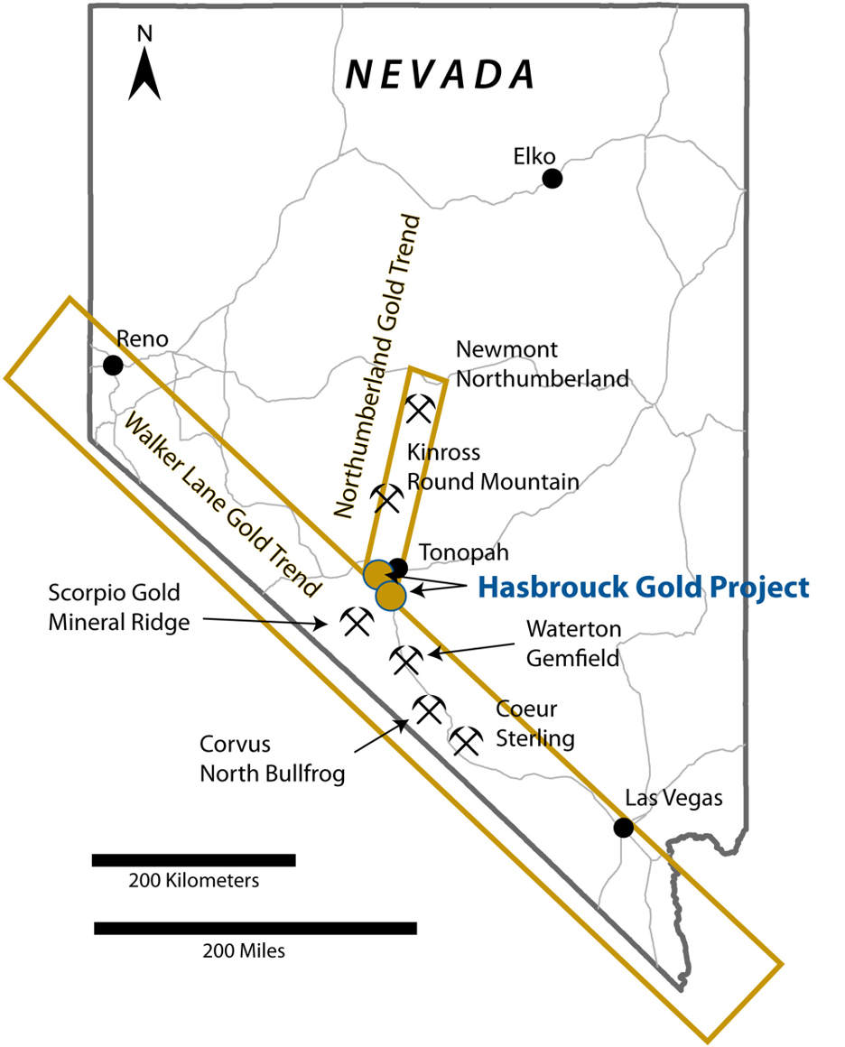 West Vault's Nevada properties with surrounding gold mines and deposits